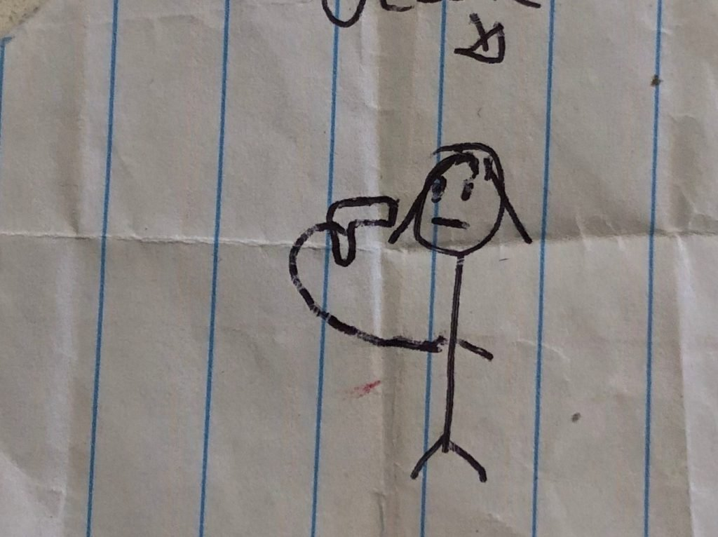 drawing depicts a stick figure holding a gun at his head
