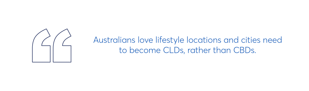 """illustration that says """"australians love lifestyle locations and cities need to become CLDs rather than CBDs"""